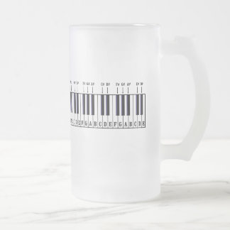 Piano Keyboard Diagram Frosted Glass Beer Mug