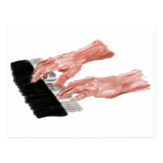 Piano keyboard hands playing keys design postcard