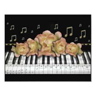 Piano Keyboard Invintation Roses and Music Notes Card