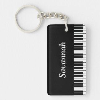 Piano Keyboard Keys, Black and White Keychain