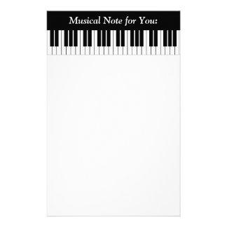 Piano Keyboard Keys, Black and White Customized Stationery