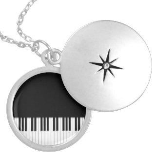 Piano Keyboard Keys Round Locket Necklace