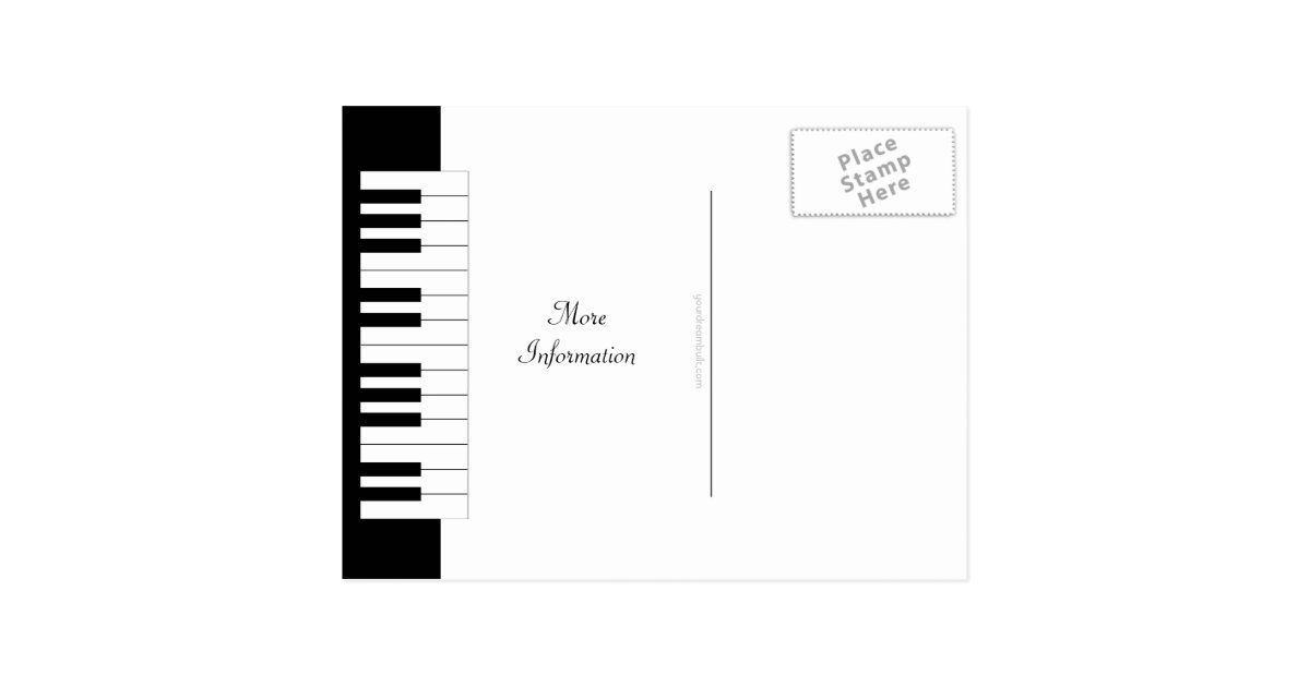 Piano Keyboard Music Themed Wedding Save The Date Postcard