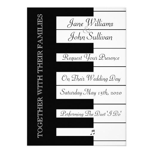 Piano Keyboard Music Wedding Invitation Invitations