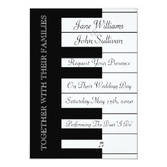 Piano Keyboard Music Wedding Invitation at Zazzle