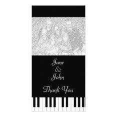 Piano Keyboard Music Wedding Photo Thank You Card at Zazzle