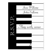 Piano Keyboard Music Wedding Rsvp Postcard at Zazzle