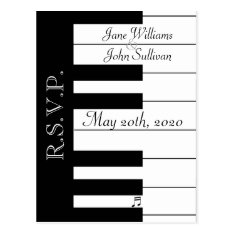 Piano Keyboard Music Wedding Rsvp Postcard at Zazzle