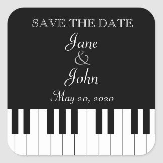 Piano Keyboard Music Wedding Save The Date Square Sticker