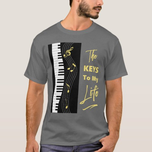 Piano Keyboard Players Fun Music Notes Graphic T_Shirt