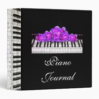 Piano Keyboard Purple Roses Music Notes 3 Ring Binders