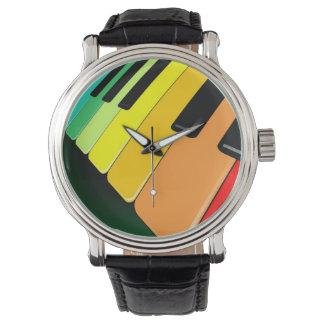 Piano Keyboard Rainbow Colors Watch