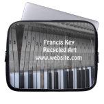 Piano keyboard, reclaimed materials laptop sleeve