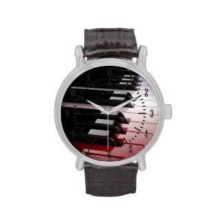 Piano Keyboard Red White and Blue Watch