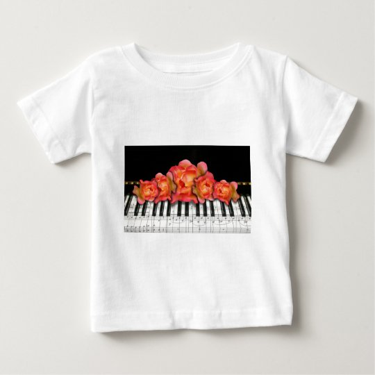 Piano Keyboard Roses and Music Notes Baby T-Shirt