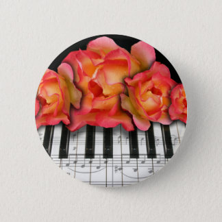 Piano Keyboard Roses and Music Notes Button