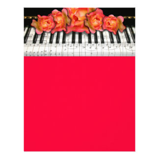 Piano Keyboard Roses and Music Notes Flyer