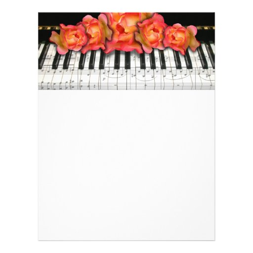 """Piano Keyboard Roses and Music Notes 8.5"""" X 11"""" Flyer"""