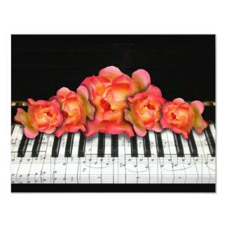 "Piano Keyboard Roses and Music Notes 4.25"" X 5.5"" Invitation Card"