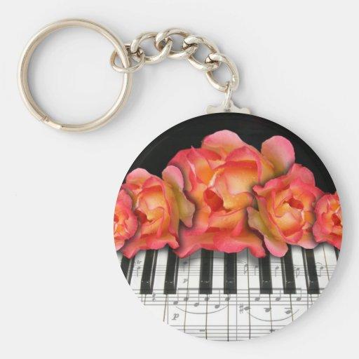 Piano Keyboard Roses and Music Notes Key Chains