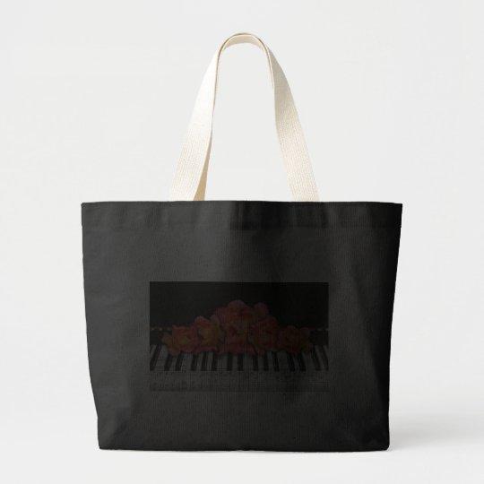Piano Keyboard Roses and Music Notes Large Tote Bag