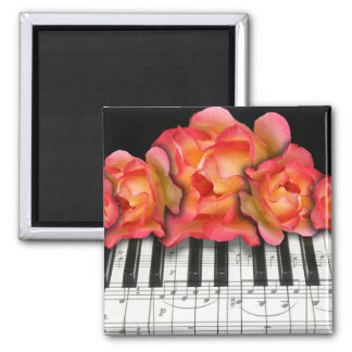 Piano Keyboard Roses and Music Notes Magnet