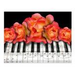 Piano Keyboard Roses and Music Notes Postcard