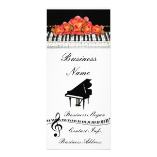 Piano Keyboard Roses and Music Notes Rack Card