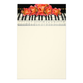 Piano Keyboard Roses and Music Notes Stationery