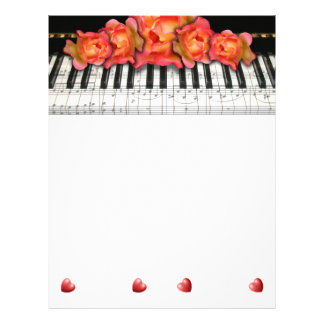 Piano Keyboard Roses Music Notes and Hearts Flyer