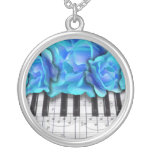 Piano Keyboard Roses Personalized Necklace