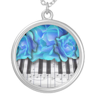 Piano Keyboard Roses Silver Plated Necklace