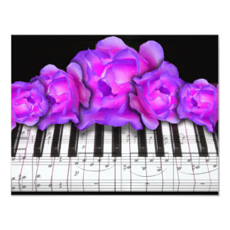 Piano Keyboard RosesInvitation  and Music Notes Custom Announcements