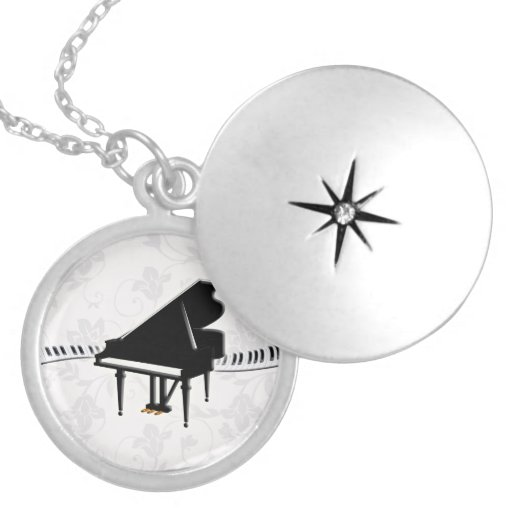 Piano Keyboard Round Locket Necklace