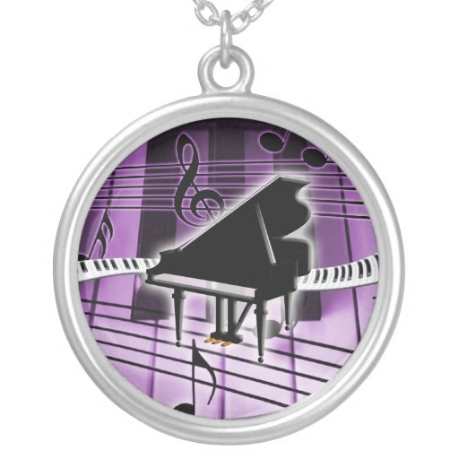 Piano Keyboard Round Pendant Necklace