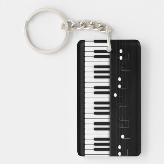 Piano keyboard Single-Sided rectangular acrylic keychain