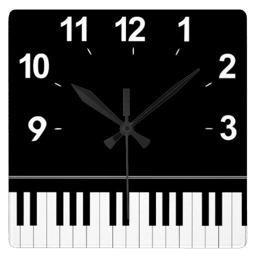 Piano keyboard square wallclocks