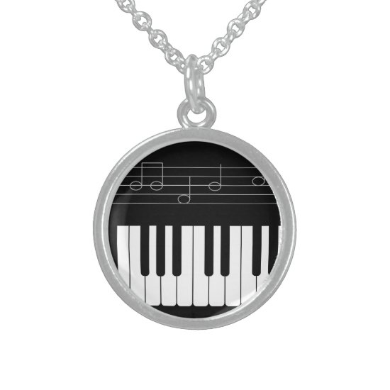 Piano keyboard sterling silver necklace
