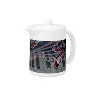 Piano Keyboard With Guitar Notes Teapot