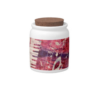 Piano Keyboard with Music Notes Grunge09 Candy Jar