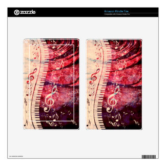Piano Keyboard with Music Notes Grunge09 Kindle Fire Decals