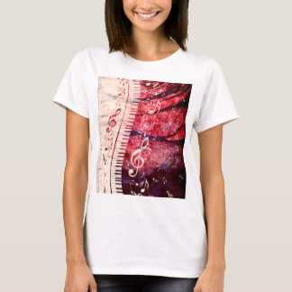 Piano Keyboard with Music Notes Grunge09 T-Shirt