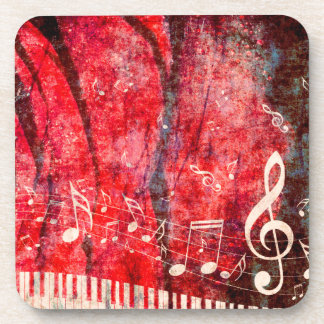 Piano Keyboard with Music Notes Grunge Coaster