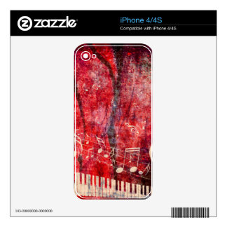 Piano Keyboard with Music Notes Grunge iPhone 4 Skins