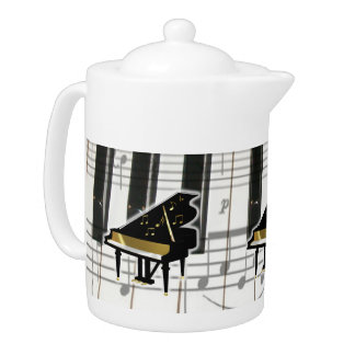 Piano Keyboard With Notes Teapot
