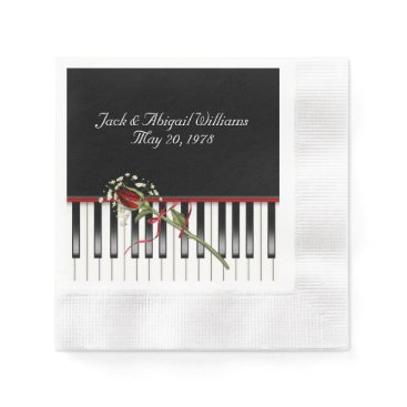 Wedding Themed piano keyboard with red rose anniverary paper napkin