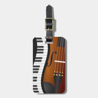 Piano Keyboards Wavy Border and Violin Luggage Tag