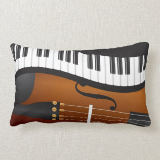 Piano Keyboards Wavy Border with Violin Pillow