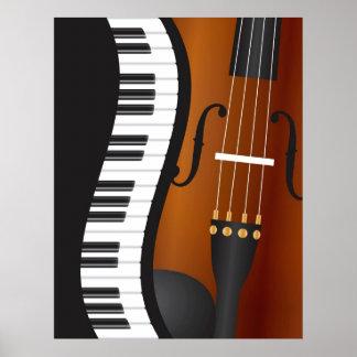 Piano Keyboards Wavy Border with Violin Poster