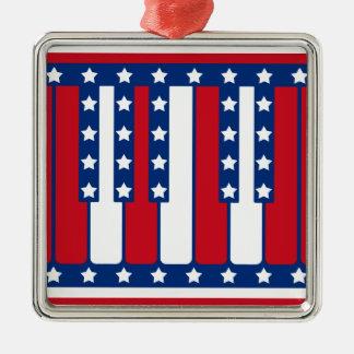Piano Keys American Flag Pattern Christmas Ornament